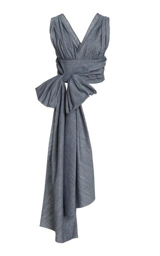 Sash-Detailed Cropped Cotton Chambray Wrap Top