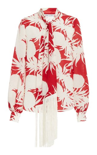 Printed Fringe Silk Blouse