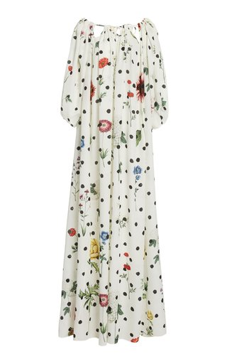 Printed Balloon Sleeve Silk Caftan