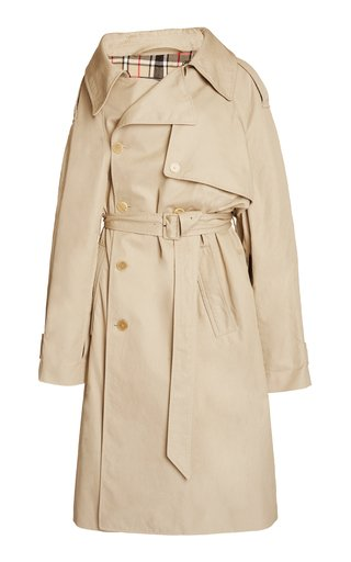 Off-The-Shoulder Cotton Trench Coat
