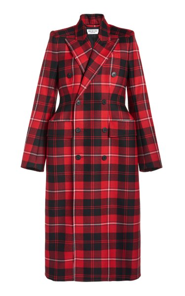 Hourglass Plaid Wool Double-Breasted Coat