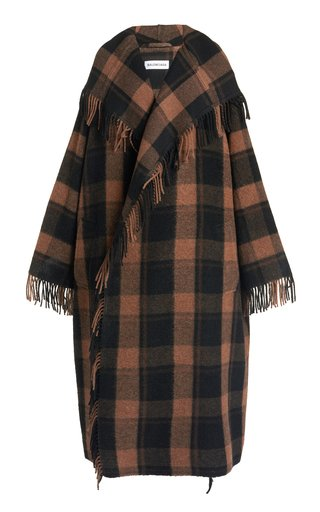 Fringed Plaid Wool-Blend Hooded Blanket Coat