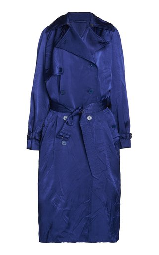 Belted Crinkled Satin Double-Breasted Trench Coat