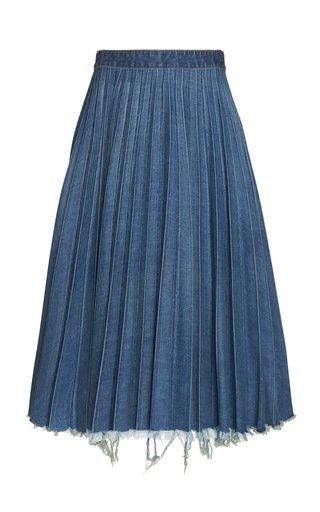 Pleated Distressed Denim Midi Skirt