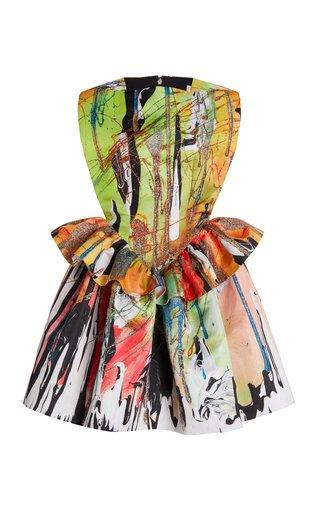 Printed Peplum Cady Mini Dress
