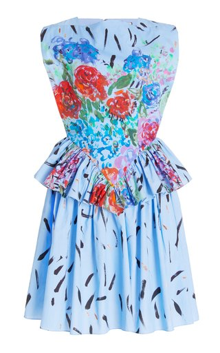 Peplum-Waist Printed Cotton Mini Dress