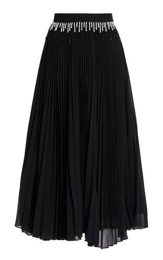 Embellished Pleated Faille Skirt