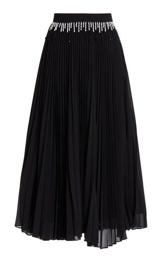 Bead-Embellished Pleated Chiffon Midi Skirt