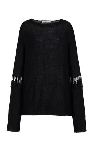 Embellished Boxy Mohair-Blend Top