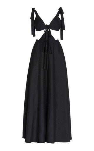 Tie-Detail Cutout Linen Dress