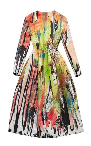 Printed Flared Jersey Dress