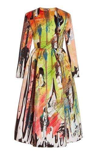 Printed Jersey Flared Midi Dress