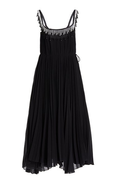 Pleated Embroidered Jersey Dress
