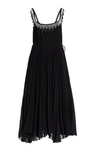 Bead-Embellished Pleated Chiffon Midi Dress