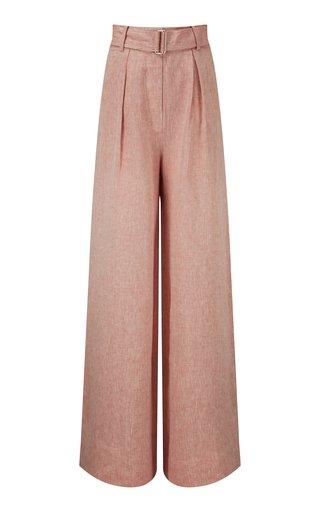 Pleated High-Rise Linen Wide-Leg Pants