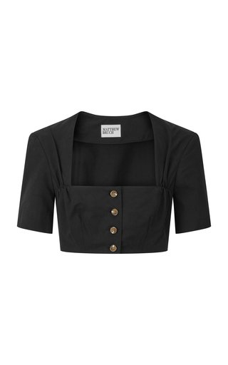 Cropped Cotton Twill Apron Top