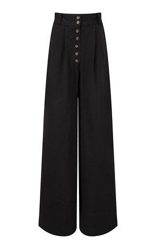 Cotton Twill Wide-Leg Pants
