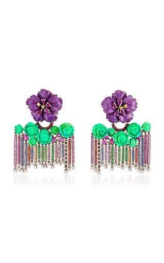 Rainbow 18K White Gold Multi-Stone Earrings