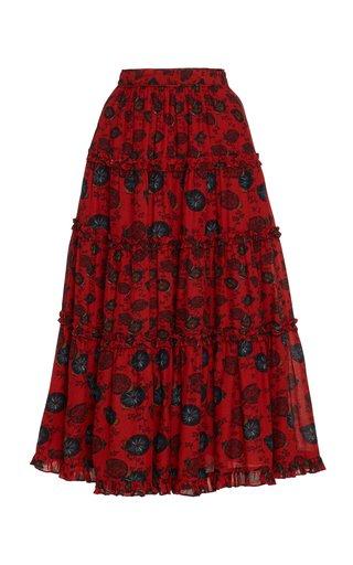 Tulia Floral Cotton-Blend Skirt