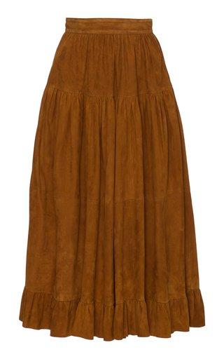 Desyre Tiered Suede Midi Skirt