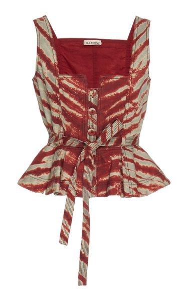 Denia Tie-Dyed Cotton Peplum Vest