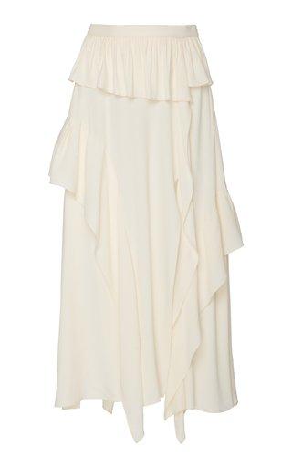 Frans Ruffle-Trimmed Crepe-De-Chine Maxi Skirt