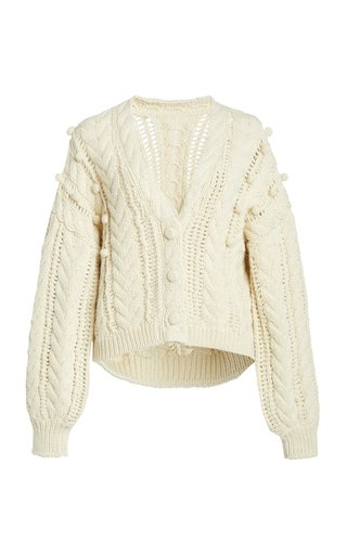 Lilo Cable-Knit Wool-Blend Cardigan