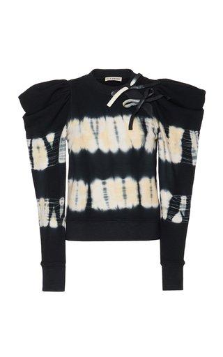 Harper Puff-Sleeve Tie-Dyed Cotton Top