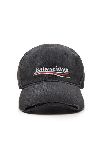 Political Embroidered Distressed Denim Cap
