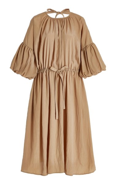 Riley Crinkled Crepe Peasant Dress