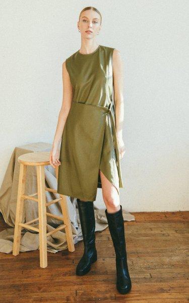 Elin Wrap-Effect Faux Leather Dress