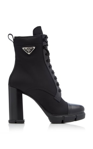 Leather-Trimmed Nylon Boots