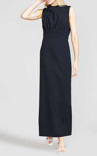 Wool Crepe Ruched Bodice Column Dress
