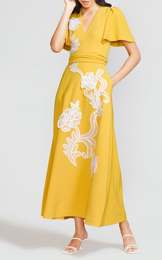 Floral Embroidered Fluid Crepe Flutter Sleeve Midi Dress