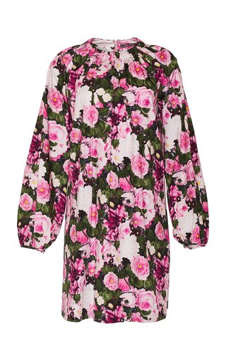 Floral Printed Cotton Tunic Dress With Ruched Neckline