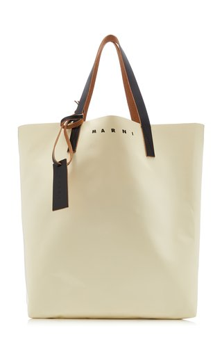 Tribeca Two-Tone Leather Shopping Bag