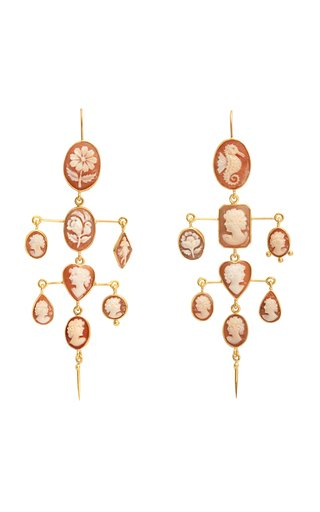 Cameo Layered Victorian Drop Earrings