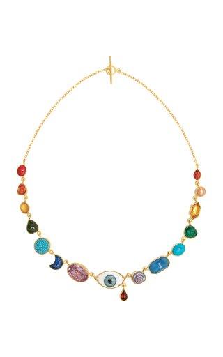 Rainbow Eye Teardrop Charm Necklace