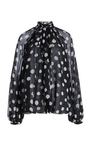 Polka Dot Printed Tie-Neck Silk Blouse