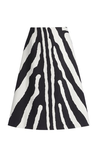 Zebra-Printed Cotton Knee-Length Skirt