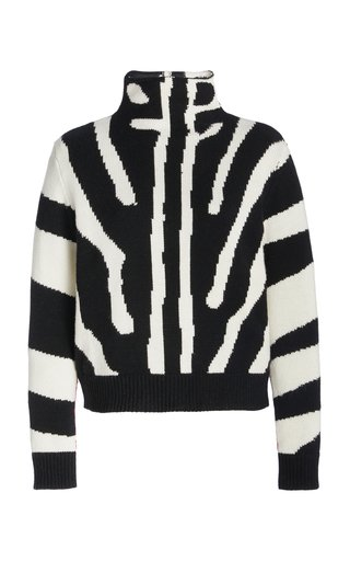 Printed Mock Neck Wool-Cashmere Pullover