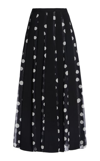 Paneled Printed Crepe De Chine Skirt