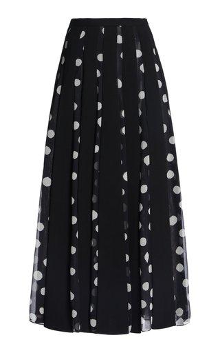 Polka Dot Paneled Crepe De Chine Skirt