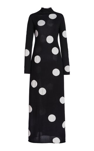 Printed Knitted Silk-Wool-Cotton Dress