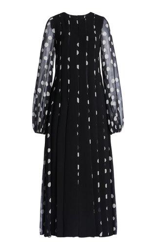 Paneled Printed Crepe And Chiffon Dress