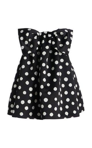 Printed Bow-Detail Satin Mini Dress