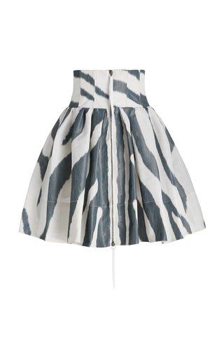 Printed Corset Waist Crepe Skirt