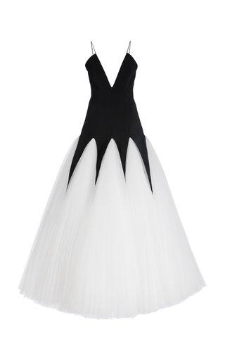 Deep V Tulle Godet Crepe Dress
