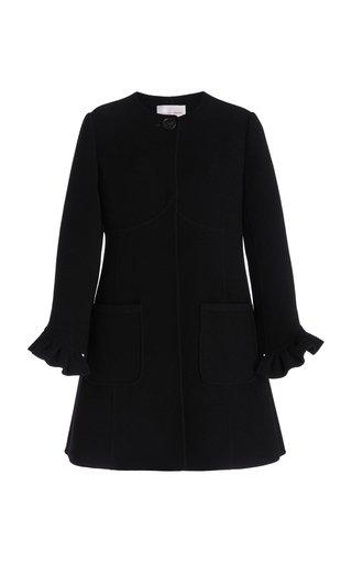 Ruffle Sleeve Wool-Blend Coat