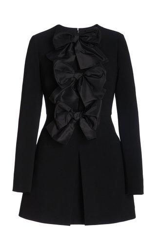 Bow Detail Cutout Crepe Mini Dress